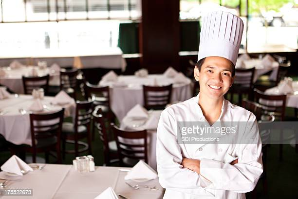 Chef standing in his restaurant