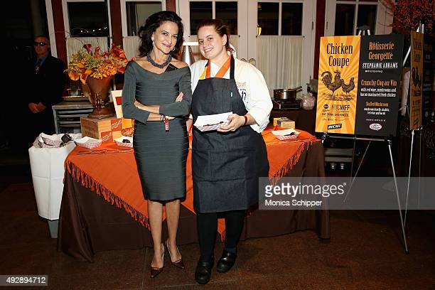 Chef Stephanie Abrams of Rotisserie Georgette poses with her dish Crunchy Coq au Vin at Chicken Coupe hosted by Whoopi Goldberg during Food Network...