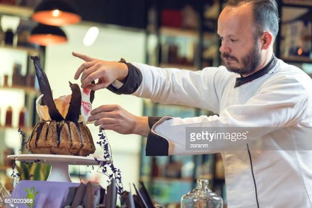 Chef styling bundt cake