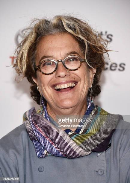 Chef Susan Feniger arrives at the 2018 Women In The World Los Angeles Salon at NeueHouse Hollywood on February 13 2018 in Los Angeles California