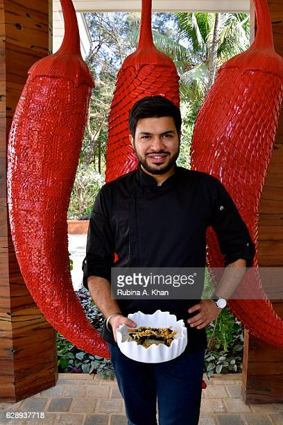 Chef Tanveer Kwatra Director of Cuisine W Goa with his signature dish Bamboo Charcoal Prawn Tempura with Mango and Wasabi created specially by him...