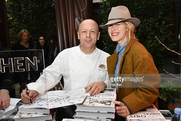Chef Thierry Marx of Mandarin Oriental restaurant and photographer Carrie Salomon attend the Thierry Marx Inside Chefs' Fridges book signing at...