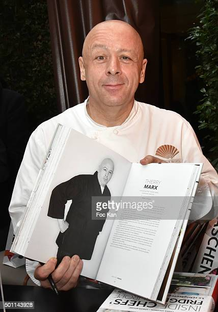 Chef Thierry Marx of Mandarin Oriental restaurant attends the Thierry Marx Inside Chefs' Fridges book signing at Mandarin Oriental on December 12...
