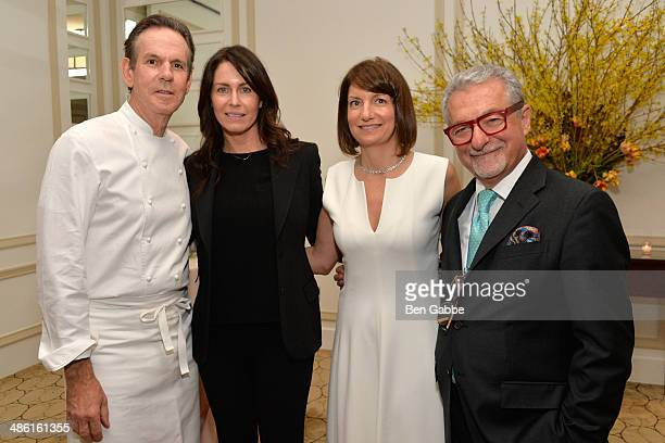 Chef Thomas Keller Laura Cunningham Marnie Tihany and interior designer Adam Tihany attend Adam Tihany's Book Launch Event on April 22 2014 in New...