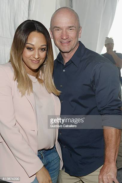 Chef Tia Mowry and Chef Devin Padgett pose at the Goya Foods Grand Tasting Village featuring MasterCard Grand Tasting Tents KitchenAid® Culinary...