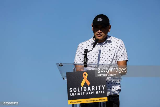 Chef Tim Ma of Chefs Stopping AAPI Hate speaks during a rally on the National Mall on May 31, 2021 in Washington, DC. Members and allies of the Asian...
