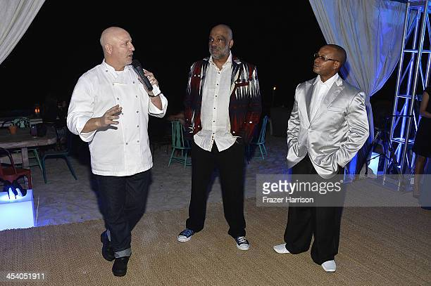 Chef Tom Colicchio Daniel Simmons Jr and Andre Guichard attend the Bombay Sapphire artisan series finale dinner hosted by Russell Simmons and Tom...