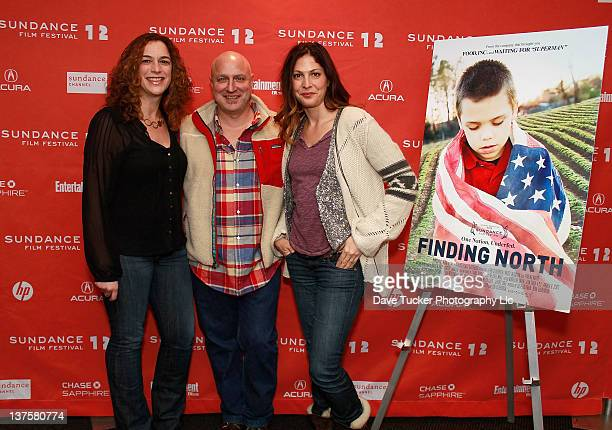 Chef Tom Colicchio with filmmakers Kristi Jacobson and Lori Silverbush attend the Finding North premiere during the 2012 Sundance Film Festival held...