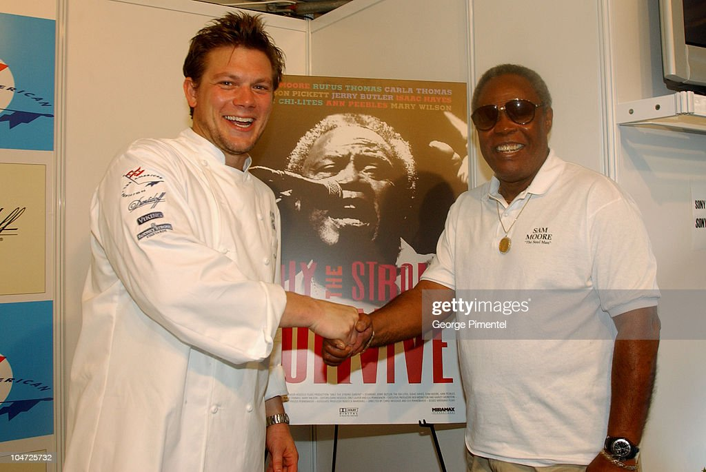 Chef Tyler Florence & Sam Moore during Cannes 2002 - 'Bon Appetit' Chef Tyler Florence at The American Pavillion in Cannes, France.