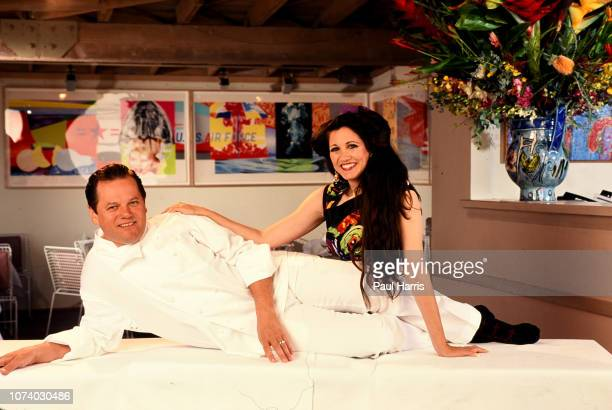 Chef Wolfgang Puck and his wife Barbara Lazaroff in his restaurant Spago on January 1 Sunset Strip Hollywood Los Angeles California