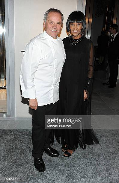 Chef Wolfgang Puck and wife Gelila Assefa arrive at the TOM FORD store opening at TOM FORD Beverly Hills on February 24 2011 in Beverly Hills...
