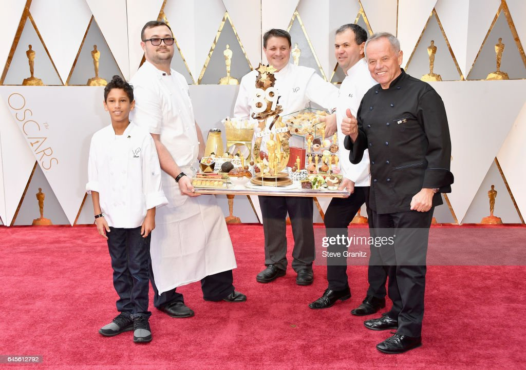Chef Wolfgang Puck (R) presents Oscar cuisine before the 89th Annual Academy Awards at Hollywood & Highland Center on February 26, 2017 in Hollywood, California.
