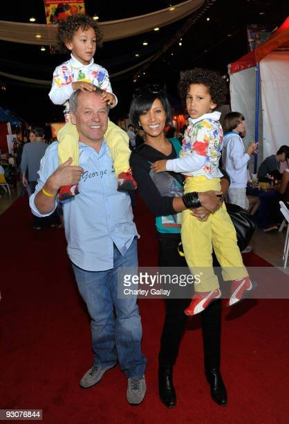 Chef Wolfgang Puck wife Gelila Assefa and children Oliver and Alexander attend PS Arts Express Yourself 2009 at Barker Hangar at the Santa Monica...