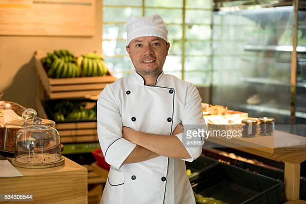 Chef working at a food market