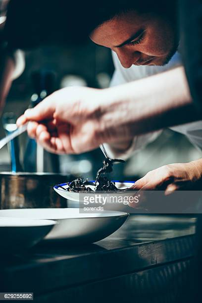 Chef working in a commercial kitchen