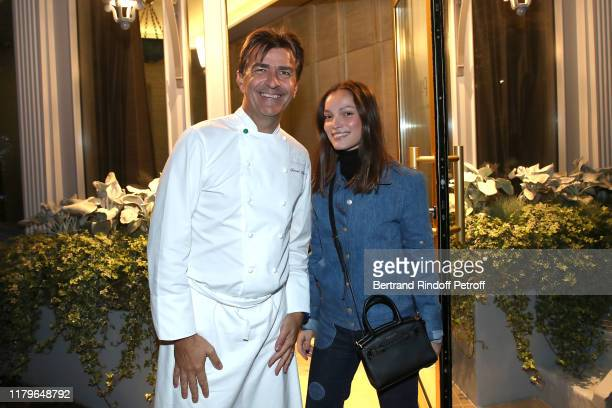 Chef Yannick Alleno and Lola Le Lann attend the Inauguration evening of PavYllon a restaurant by Yannick Alleno at Pavillon Ledoyen on October 07...