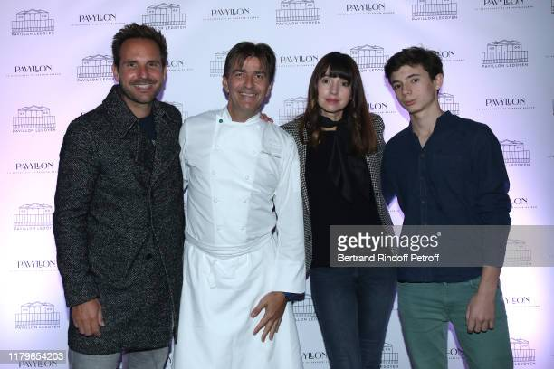 Chef Yannick Alleno Pastry Chef Christophe Michalak his wife Delphine McCarty and their son attend the Inauguration evening of PavYllon a restaurant...