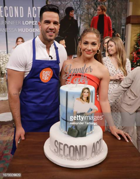 """Chef Yisus and Jennifer Lopez are seen on the set of """"Despierta America"""" at Univision Studios to promote the film """"Second Act"""" on December 14, 2018..."""