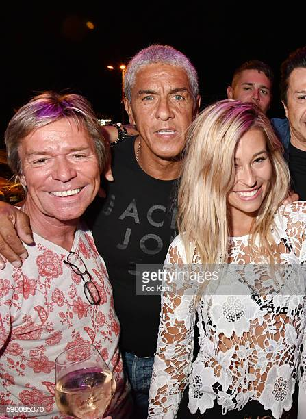 Chef Yvan Zaplatilek actor Sami Naceri and barmaid Lilou attend the the the Tsar Folie's Club Saint Tropez Party on August 15 2016 in SaintTropez...