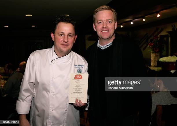 Chef Zane Holmquist and Stella Artois Brand Manager David Daniels attend the Stella Artois Media Dinner at the Stein Eriksen Lodge during 2008...