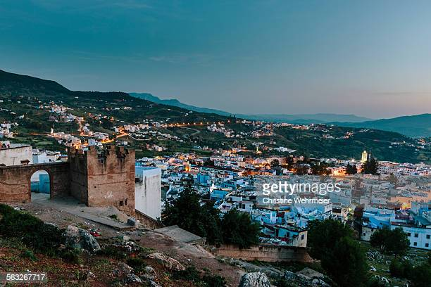 chefchaouen at dusk - christine wehrmeier stock pictures, royalty-free photos & images