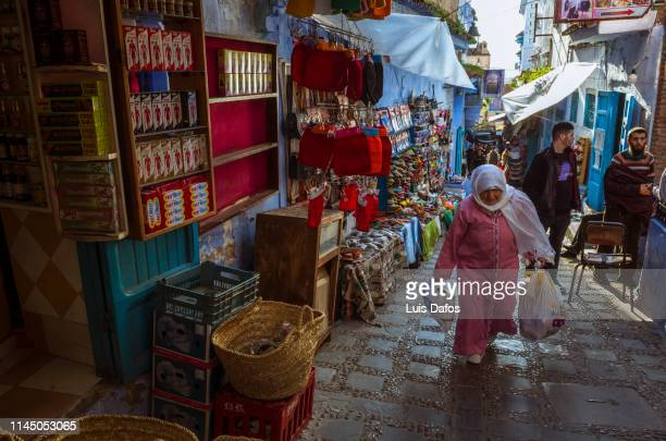 Chefchaouen, senior lady shopping