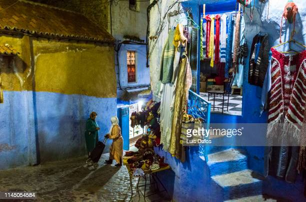 Chefchaouen street scene by night