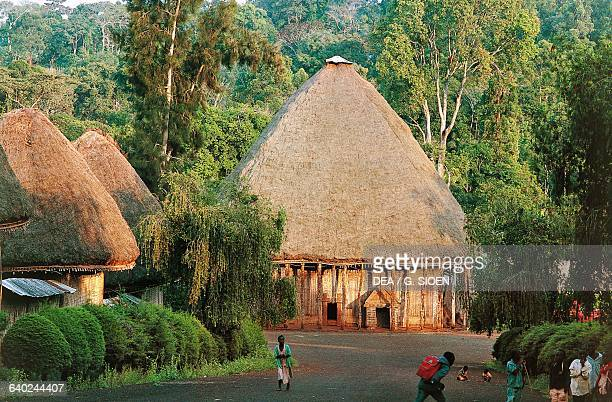 A chefferie home of the village chief Bamileke people Bandjoun Cameroon