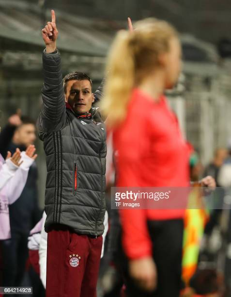 ChefHead coach Thomas Woerle of Bayern Munich gestures during the Champions League match between Bayern Munich and Paris Saint Germain at Municipal...