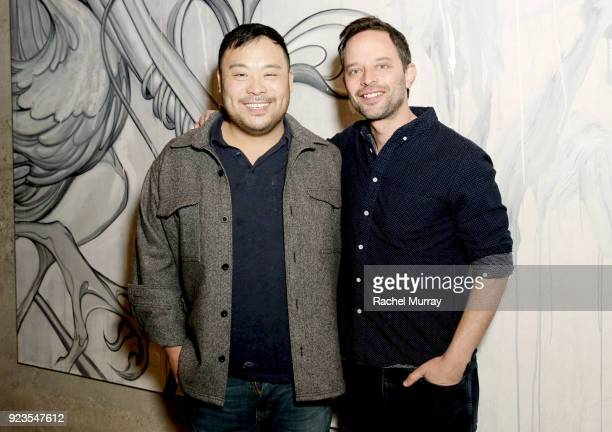 Chef/Owner David Chang and actor Nick Kroll attend the Ugly Delicious dinner party at David Chang's first west coast restaurant Majordomo on February...