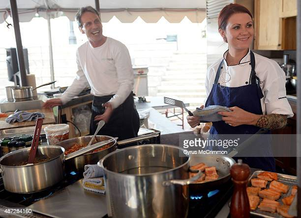Chef/owner Dory Ford of Baur's restaurant in Denver did a culinary demonstration at A Taste of Colorado Festival on Friday September 4 2015 Ford left...