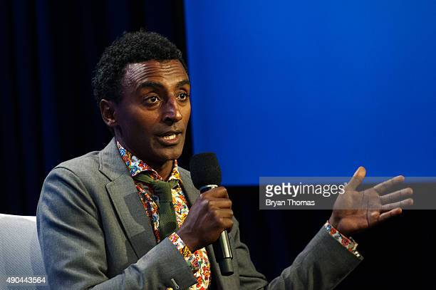 ChefOwner of Red Rooster Harlem Marcus Samuelsson speaks to an audience during the Clinton Global Initiative Annual Meeting at the Sheraton Hotel and...