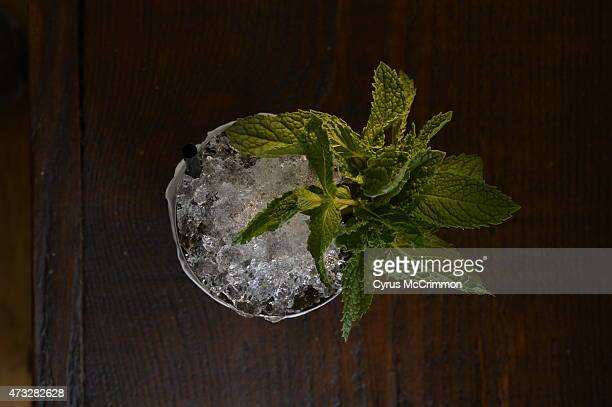 Chef/owner Steve Redzikowski created this Mint Julep cocktail with fresh mint he had just selected at the Red Wagon Organic Farms in Boulder County...