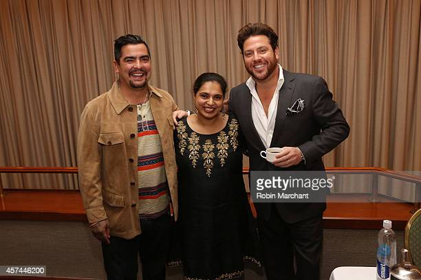 Chefs Aaron Sanchez Maneet Chauhan and Scott Conant attend CHOPPED Best Bloody Mary Brunch Perfected By ABSOLUT during the Food Network New York City...