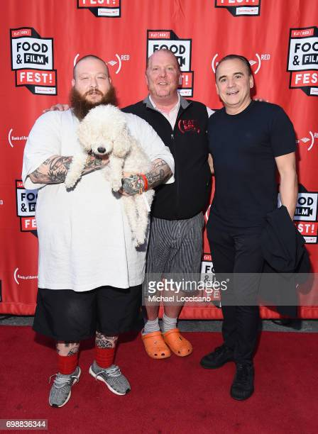 Chefs Action Bronson Mario Batali and Jean Georges Vongerichten arrive at EAT Food Film Fest at Bryant Park on June 20 2017 in New York City Photo by...