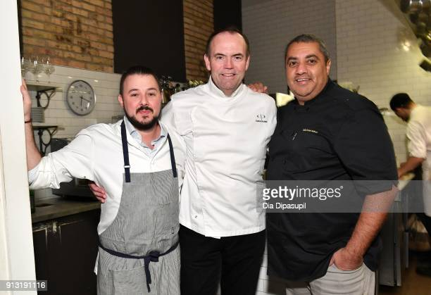 Chefs Adam Sobel Charlie Palmer and Michael Mina attend the #Culinary Kickoff at Spoon And Stables Restaurant on February 1 2018 in Minneapolis...