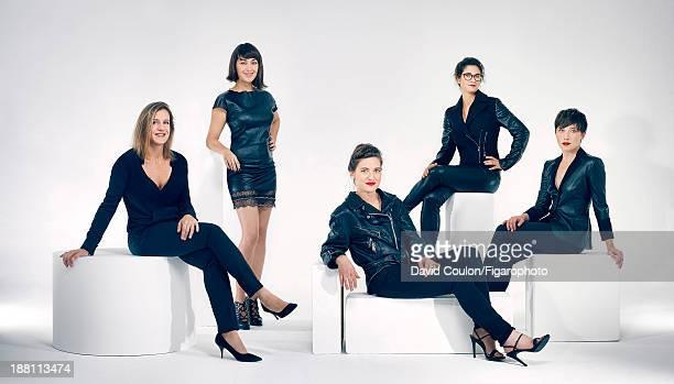 Chefs Adeline Grattard, Laura Vidal, Agata Felluga, Alix Lacloche, Delphine Zampetti are photographed for Madame Figaro on October 21, 2013 in Paris,...