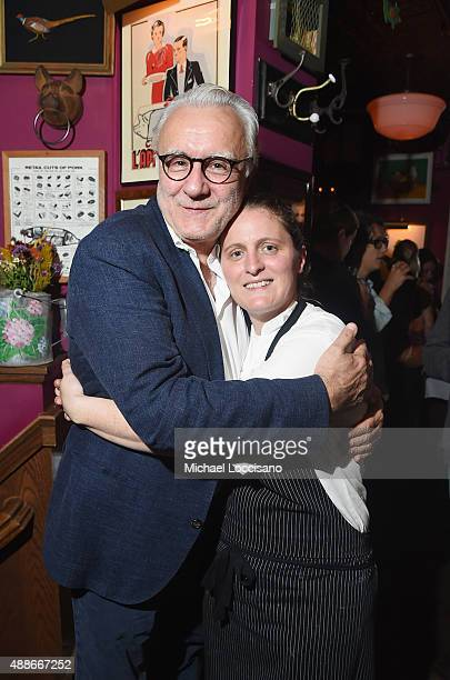Chefs Alain Ducasse and April Bloomfield attend The Mind of a Chef season 4 premiere party powered by Breville at The Spotted Pig on September 16...