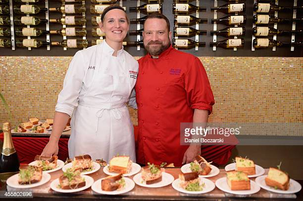 Chefs Amanda Warren and Dino Tsaknis attend Food Network in Concert on September 20 2014 in Chicago United States