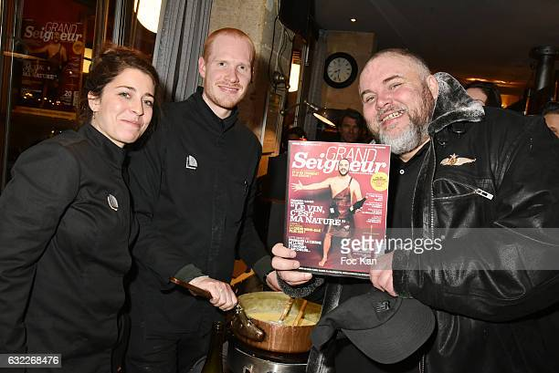 Chefs and Olivier Malnuit editor chief of Grand Seigneur attend the Apero Tartiflette Party Hosted by Grand Seigneur Magazine at Bistrot Marguerite...
