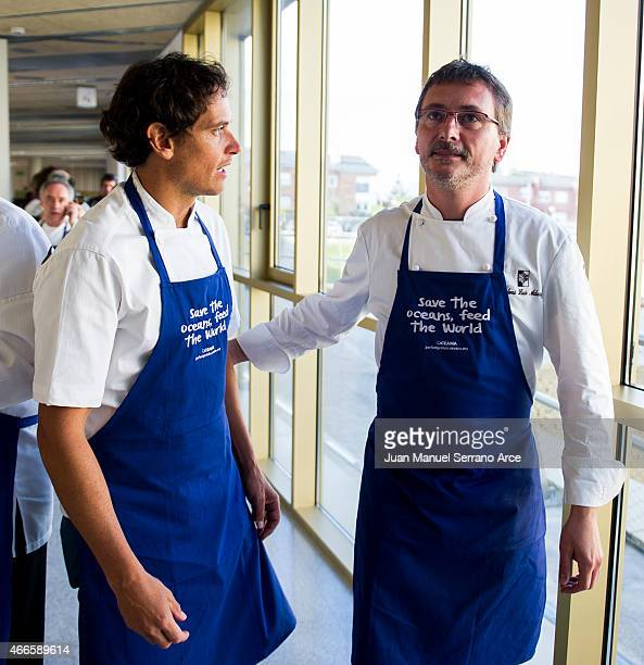 chefs Andoni Luis Aduriz and Rodolfo Guzman attend 'Save the Oceans Feed the World' at Basque Culinary Center on March 17 2015 in San Sebastian Spain
