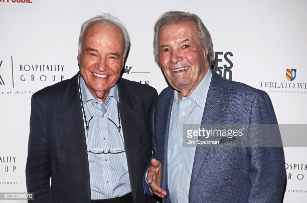 Chefs Andre Soltner and Jacques Pepin attend the James Beard America's First Foodie NYC premiere at iPic Fulton Market on April 23 2017 in New York...