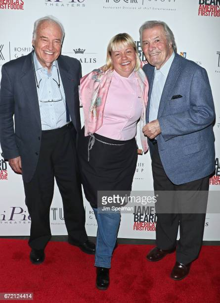 Chefs Andre Soltner Sherry Yard and Jacques Pepin attends the James Beard America's First Foodie NYC premiere at iPic Fulton Market on April 23 2017...