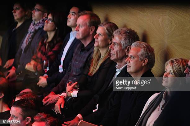 Chefs Anthony Bourdain and Eric Ripert and Martha Stewart watch a screening of 'Anthony Bourdain Parts Unknown Japan with Masa' at Samsung 837 on...