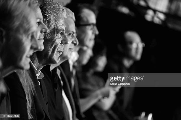 Chefs Anthony Bourdain and Eric Ripert watch a screening of 'Anthony Bourdain Parts Unknown Japan with Masa' at Samsung 837 on November 7 2016 in New...