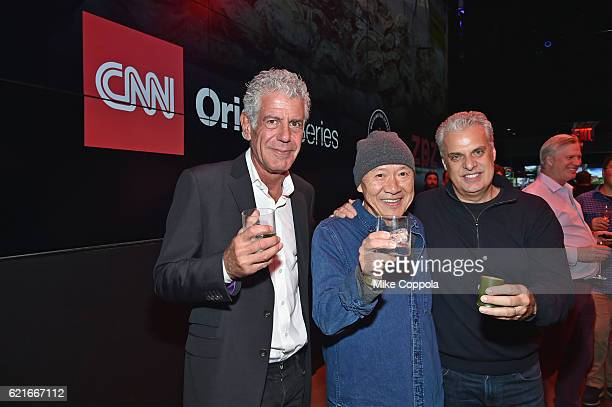 Chefs Anthony Bourdain Masa Takayama and Eric Ripert attend a screening of 'Anthony Bourdain Parts Unknown Japan with Masa' at Samsung 837 on...