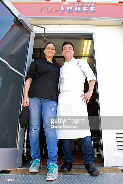 Chefs Antonia Lofaso and Hung Huynh compete in the 5th annual Top Chef: The Tour at Gansevoort Plaza on May 20, 2012 in New York City.