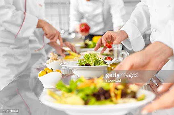 chefs are preparing salads - image technique stock pictures, royalty-free photos & images