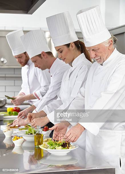 Chefs are preparing salads