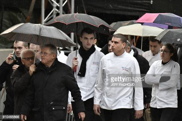 Chefs arrive to attend the funeral ceremony for French chef Paul Bocuse at the SaintJean Cathedral in Lyon on January 26 2018 More than 1500 chefs...
